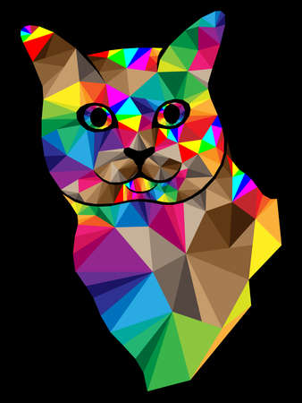 Mosaic of funny cat muzzle in bright colors isolated on the black background, decoration on glass for children 矢量图像