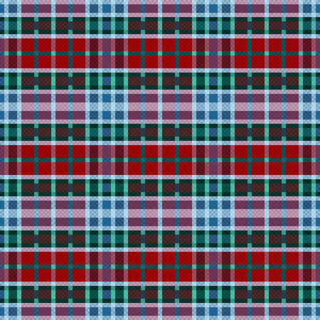 Rectangular seamless vector pattern as a tartan plaid in blue, green, grey and red hues, texture for flannel shirt, plaid, tablecloths, clothes, blankets and other textile Vettoriali