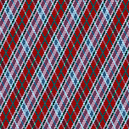Rhombic seamless vector pattern as a tartan plaid mainly in red, magenta and turquoise hues, texture for flannel shirt, plaid, tablecloths, clothes, blankets and other textile