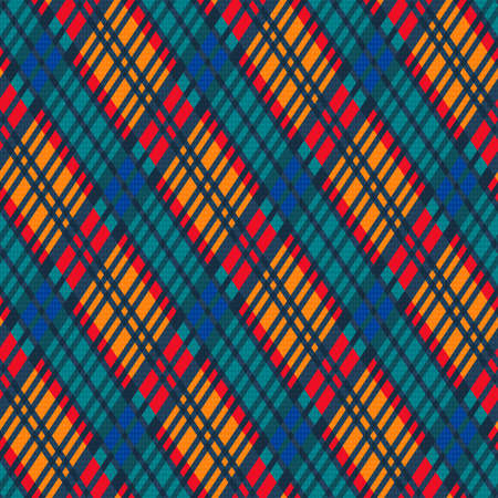 Detailed Rhomb seamless vector pattern as a tartan plaid in red, orange, blue and turquoise hues, texture for flannel shirt, plaid, tablecloths, clothes, blankets and other textile Vettoriali