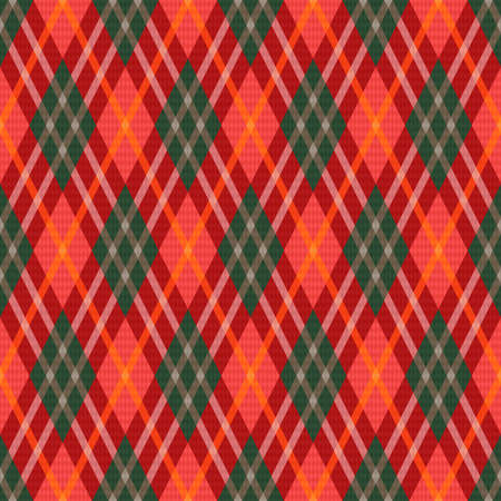 Rhombic seamless colorful in green, red and orange hues illustration pattern as a tartan plaid Vettoriali