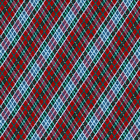 Detailed Rhomb seamless vector pattern as a tartan plaid, multicolor texture for flannel shirt, plaid, tablecloths, clothes, blankets and other textile Vettoriali
