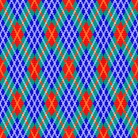 Bright seamless rhombic illustration pattern as a tartan plaid in turquoise, blue and orange hues, texture for flannel shirt, plaid, tablecloths, clothes, blankets and other textile