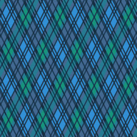 Seamless rhombic illustration muted pattern as a tartan plaid in blue, green and grey hues, texture for flannel shirt, plaid, tablecloths, clothes, blankets and other textile