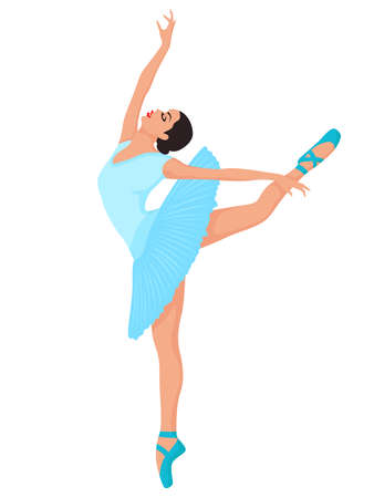 Elegant ballerina in soft blue dress in pointe shoe, hand drawing vector, isolated on the white background