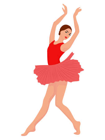 Beautiful ballerina in red and pink tutu dress, hand drawing vector, isolated on the white background
