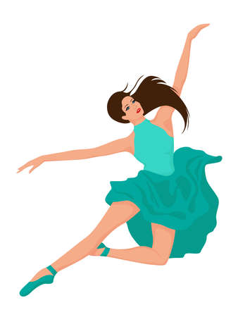 Beautiful woman dancer in turquoise dress in jump, hand drawing vector, isolated on the white background