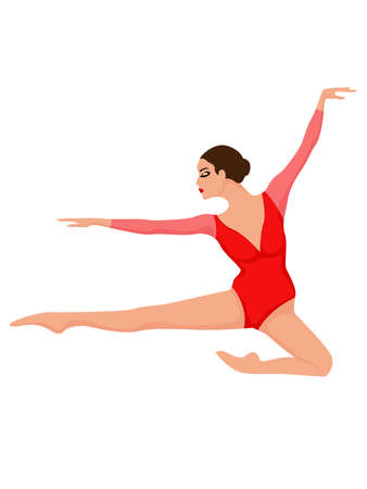 Charming lady dancer in red leotard with sleeves in jump, hand drawing vector, isolated on the white background