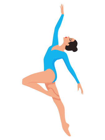 Elegant ballerina in blue leotard with sleeves, hand drawing vector, isolated on the white background