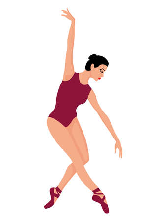 Beautiful ballerina in magenta leotard and pointe shoe, hand drawing vector, isolated on the white background 矢量图像