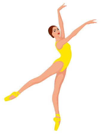 Elegant ballerina in yellow leotard with pointe shoe, hand drawing vector, isolated on the white background