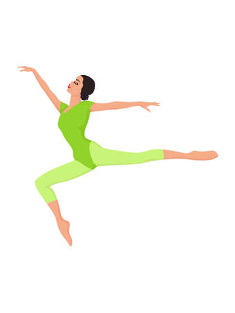 Beautiful woman dancer in bright green unitard in jump, hand drawing vector, isolated on the white background 矢量图像