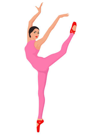 Beautiful ballerina in pink leotard with pants, hand drawing vector, isolated on the white background