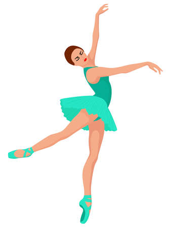 Beautiful woman dancer in turquoise dress in pointe shoe, hand drawing vector, isolated on the white background