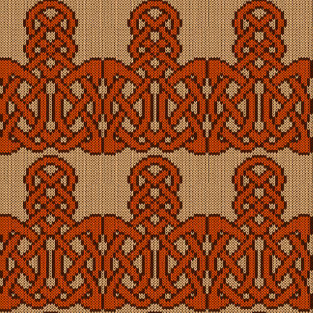 Ornate knitting seamless vector pattern in beige, orange and brown colors as a fabric texture Vettoriali