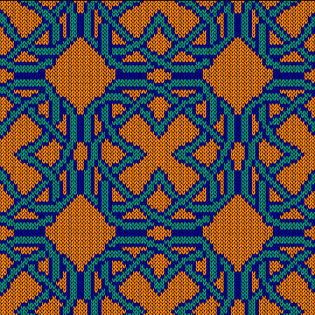 Geometrical ornate seamless knitted vector pattern as a fabric texture in turquoise, orange and blue colors