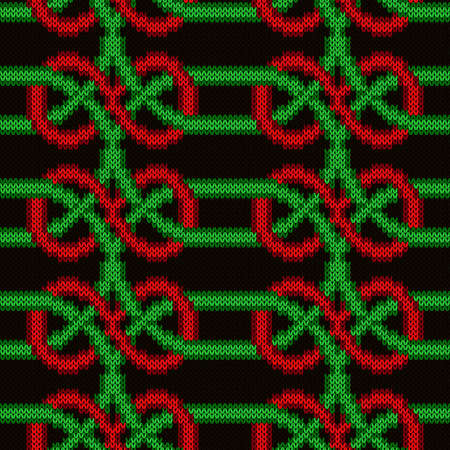 Contrast ornate seamless knitted vector pattern as a fabric texture in green, red and black colors Vettoriali