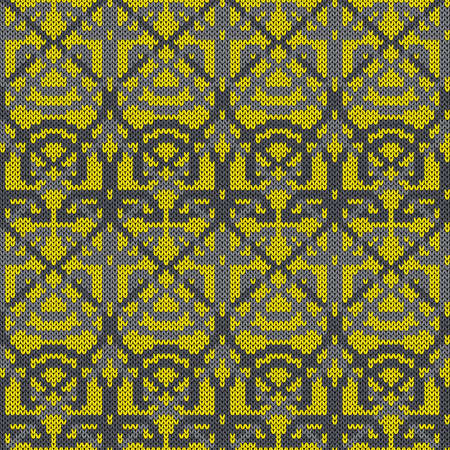Geometrical seamless knitted vector pattern as a fabric texture in yellow and grey colors