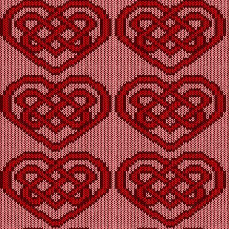 Muted ornate seamless knitted vector pattern as a fabric texture in red and pink colors