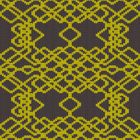 Ornate knitting seamless vector pattern in dark grey and yellow colors as a fabric texture