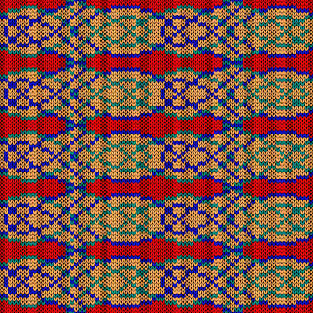 Ornate knitting seamless vector pattern in red, orange, turquoise and blue colors as a fabric texture Vettoriali