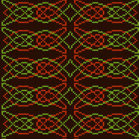 Ornamental knitting seamless vector pattern in brown, orange and green colors as a fabric texture