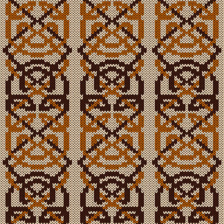 Geometrical ornate seamless knitted vector pattern as a fabric texture in beige, orange and brown colors Vettoriali