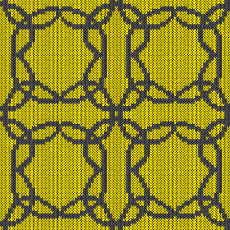 Geometrical seamless knitted vector pattern as a fabric texture in grey and yellow hues Vettoriali