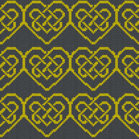 Ornamental knitting seamless vector pattern in yellow and grey hues as a fabric texture Vettoriali