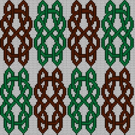 Ornate seamless knitted vector pattern as a fabric texture in brown and green colors on white background Vettoriali