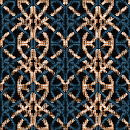 Ornate knitting seamless vector pattern in muted blue and beige hues on black background as a fabric texture