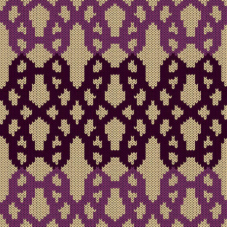 Geometrical ornate seamless knitted vector pattern as a fabric texture in magenta and muted pink colors on beige background