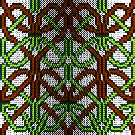 Ornamental knitting seamless vector pattern in brown, green and white colors as a fabric texture Vettoriali
