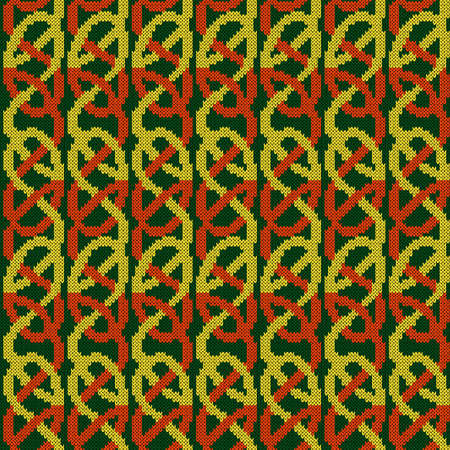 Ornate knitting seamless vector pattern in green, orange and yellow colors as a fabric texture Vettoriali