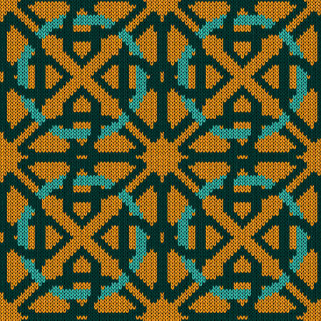 Geometrical ornate seamless knitted vector pattern as a fabric texture in turquoise and orange colors