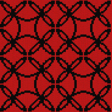 Seamless knitted ornate vector pattern in black and red colors as a fabric texture Vettoriali