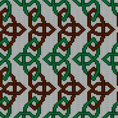 Geometrical ornate seamless knitted vector pattern as a fabric texture in green and brown colors on white background