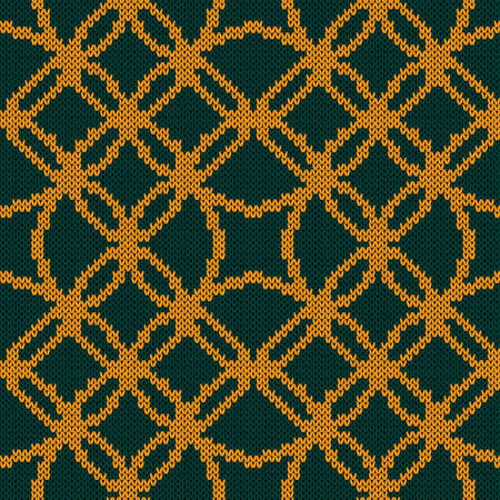 Ornamental knitting seamless vector pattern in turquoise and orange hues as a fabric texture Vettoriali