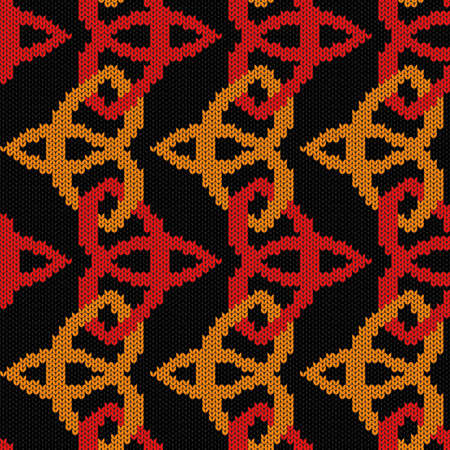 Geometrical ornate seamless knitted vector pattern as a fabric texture in red, orange and black colors