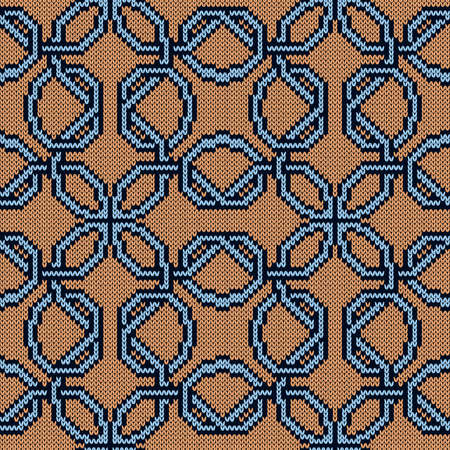 Ornate knitting seamless vector pattern in beige and blue colors as a fabric texture