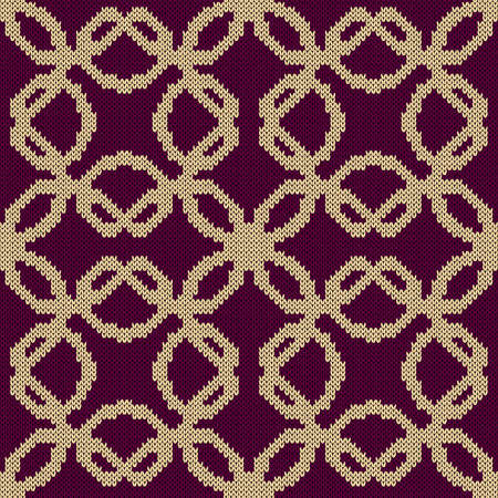 Knitting seamless vector pattern as a fabric texture in magenta and beige color as a fabric texture
