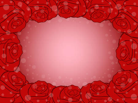 Romantic greeting card with many roses in red and pink hues Vettoriali