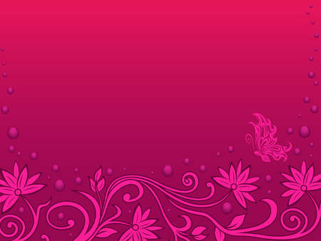 Beautiful romantic greeting card with floral elements and butterfly in magenta and pink hues