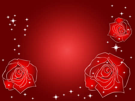 Romantic postcard with roses with roses and stars in red and white colors
