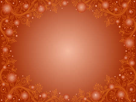 Beautiful romantic greeting card with floral elements and stars in orange hues Vettoriali