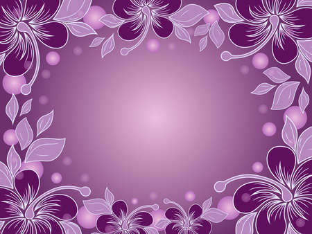 Greeting card with elements of plants and a gradient in dark magenta and white hues Vettoriali