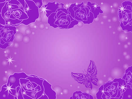 Romantic greeting card with many roses in violet hues