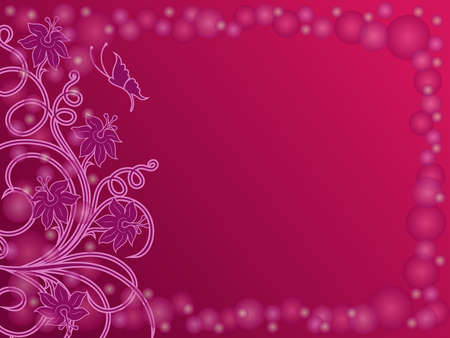 Beautiful greeting card with floral elements and butterfly in magenta and pink hues