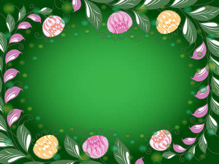 Colorful frame with elements of plants and a gradient, beautiful greeting card Vettoriali