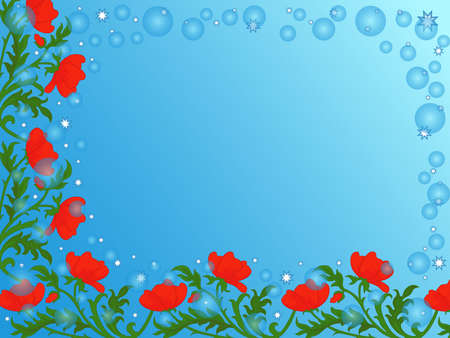 Colorful decorative flowers on soft blue background in circle and stars, beautiful greeting card Vettoriali